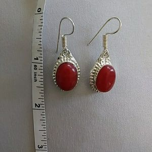 925 marked silver drop earrings red